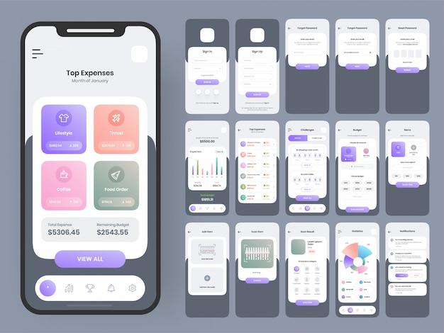 Voltooi ui- en ux-schermen voor een mobiele app.