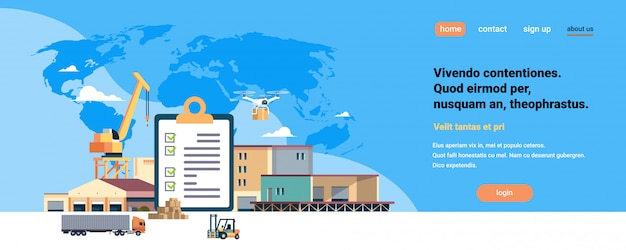 Voltooide controlelijst klembord kraan oplegger magazijn heftruck machines blauwe wereldkaart, internationale levering industriële concept vlakke horizontale kopie ruimte