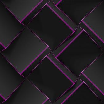 Volumetrische abstracte textuur met zwarte blokjes met dunne roze lijnen. realistisch geometrisch naadloos patroon voor achtergronden, behang, textiel, stof en inpakpapier. realistische sjabloon.