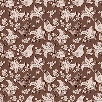 Volumetrische bloem, vogel naadloze patroon achtergrond.
