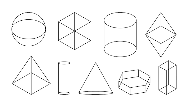 Volumetrische geometrische basisvormen zwarte lineaire eenvoudige d figuur met onzichtbare vorm lijnen isometrische weergaven bol en kubus cilinder en kegel en andere vormen geïsoleerd op witte vectorillustratie