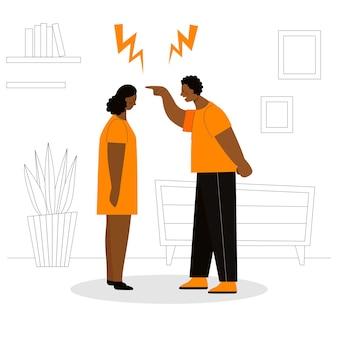 Volwassen afrikaanse man en vrouw ruzie. concept van familieconflicten, wrok, agressie, echtscheiding. man en vrouw schreeuwen en vloeken. platte vectorillustratie geïsoleerd.