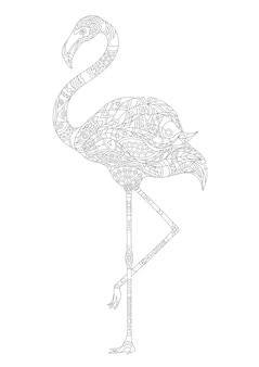 Volwassen kleur ornament sier gekleurde kleurende flamingo