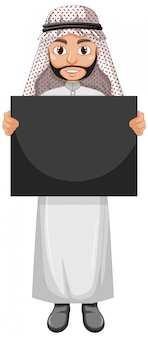 Volwassen man arabische arabische kostuum dragen en met lege poster of aanplakbiljet