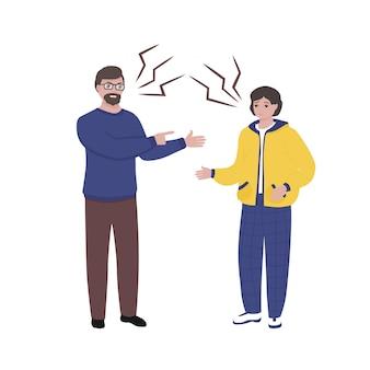 Volwassen man en jonge man ruzie concept van familieconflicten wrok agressie misbruik