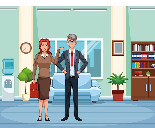 Volwassen onderneemster en zakenman op kantoorachtergrond