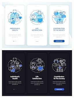 Volwassen ontwikkeling onboarding mobiele app-paginascherm met concepten