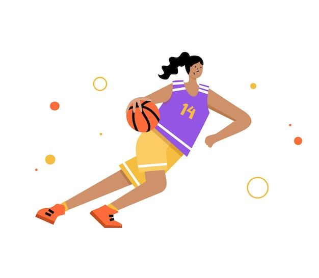 Volwassen vrouw stripfiguur actie. basketbalspeler met bal platte vector geïsoleerde illustratie
