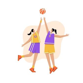 Volwassen vrouw stripfiguur actie. basketbalspeler met bal platte vector geïsoleerde illustratie Premium Vector