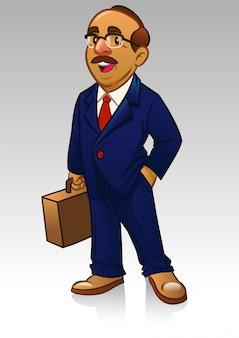 Volwassen zakenman in pak en breng de koffer