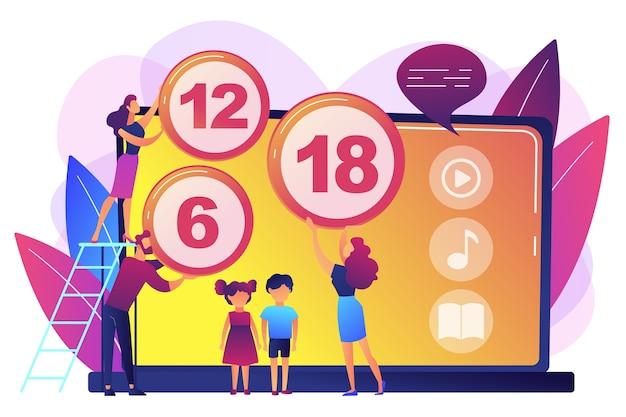 Volwassenen beoordelen inhoud voor kinderen met borden voor leeftijdsbeperkingen. inhoudsbeoordelingssysteem, leeftijdsbeperking, censuurclassificatieconcept. heldere levendige violet geïsoleerde illustratie