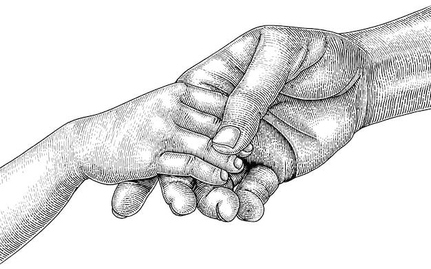 Volwassenen en kinderen slaan de handen in elkaar, hand tekenen vintage gravure stijl