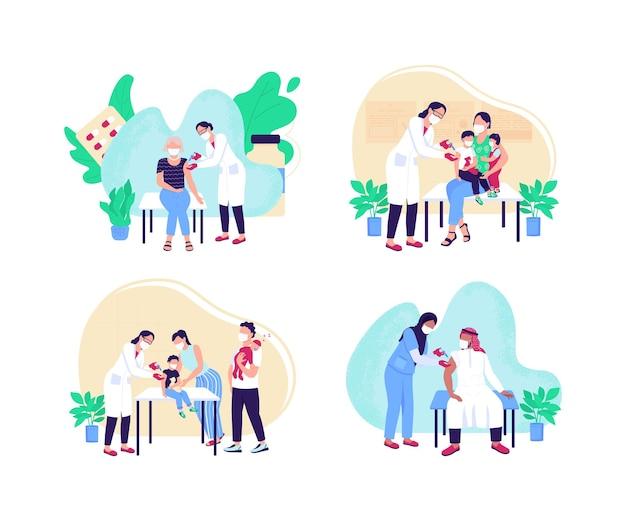 Volwassenen en kinderen vaccinatie platte concept illustratie set