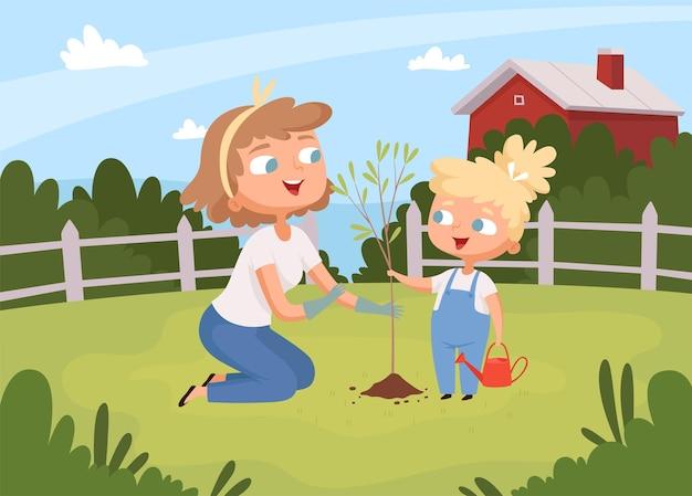 Volwassenen helpen bij het planten. kinderen met ouders die boom planten eco milieu achtergrond tuinieren onderwijs.