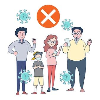Volwassenen praten met elkaar zonder maskers te dragen om infectie te voorkomen