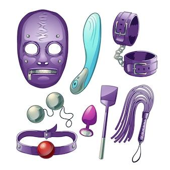 Volwassenen seksspeeltjes, accessoires voor bdsm rollenspel cartoon set met dildo of vibrator