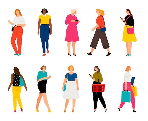Volwassenen vrouwelijke personages met boodschappentassen en mobiele telefoons