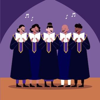 Volwassenen zingen samen in een geïllustreerd gospelkoor