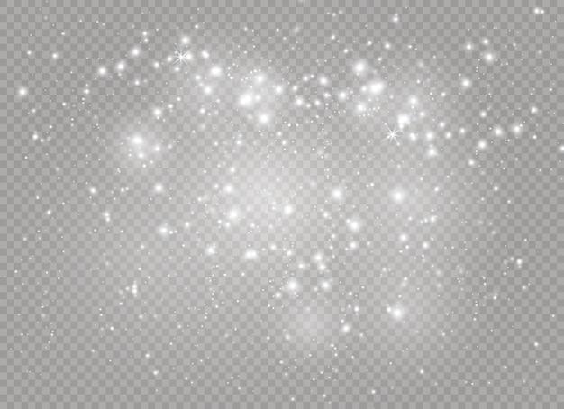 Vonken en sterren schitteren speciaal lichteffect. sprankelende magische stofdeeltjes.