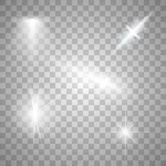 Vonken geïsoleerd. vector gloeiende sterren. lensfakkels en schittert