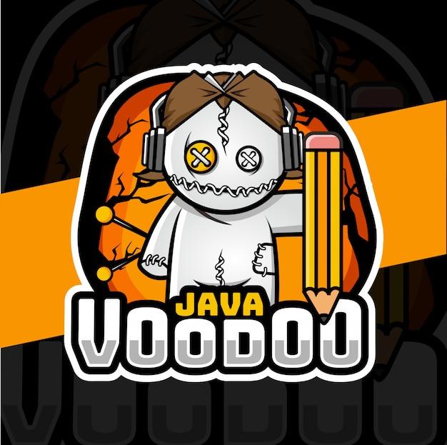 Voodoo dool mascotte esport logo ontwerp