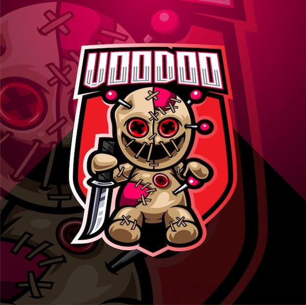 Voodoo esport mascotte logo ontwerp
