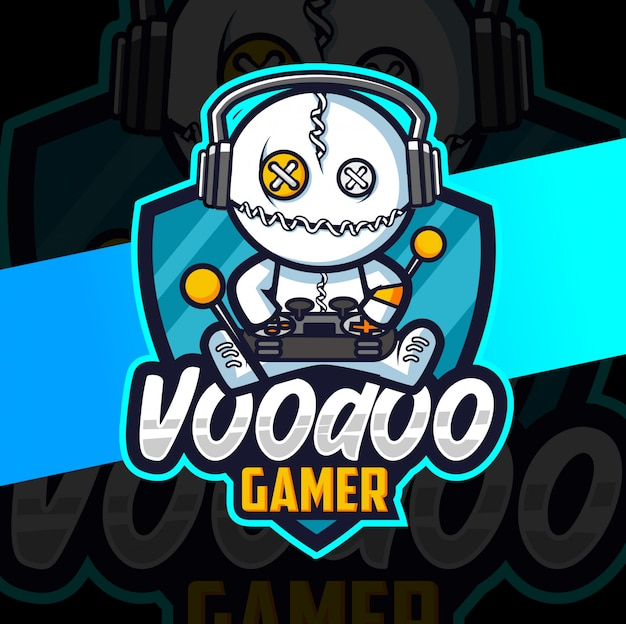 Voodoo gamer mascotte esport logo ontwerp