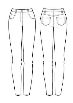 Voor-, achteraanzichten van damesjeans. vector illustratie.
