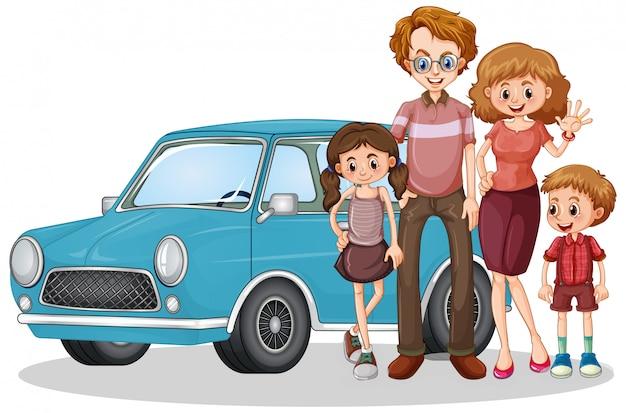 Voor de auto en gelukkige familie