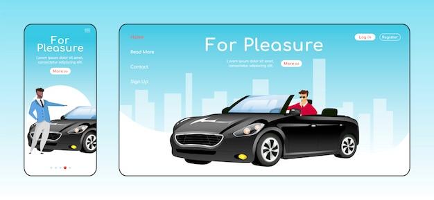 Voor een plezierige sjabloon voor bestemmingspagina's. autodealer service startpagina layout. een pagina website ui met stripfiguur. luxe auto's verkoop adaptieve webpagina cross platform
