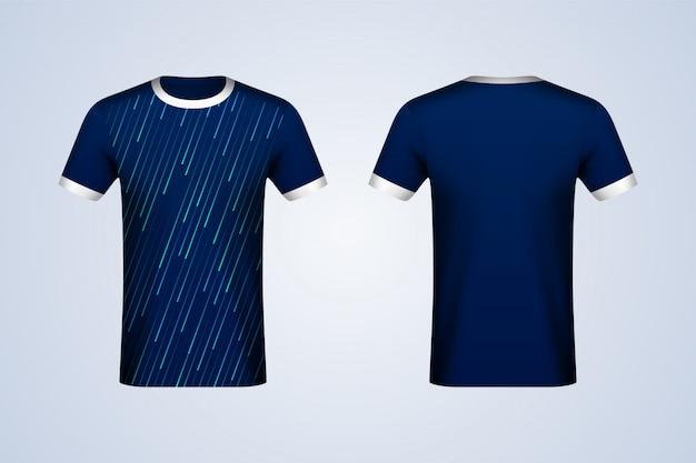 Voor en achter abstract blauw jersey mockup