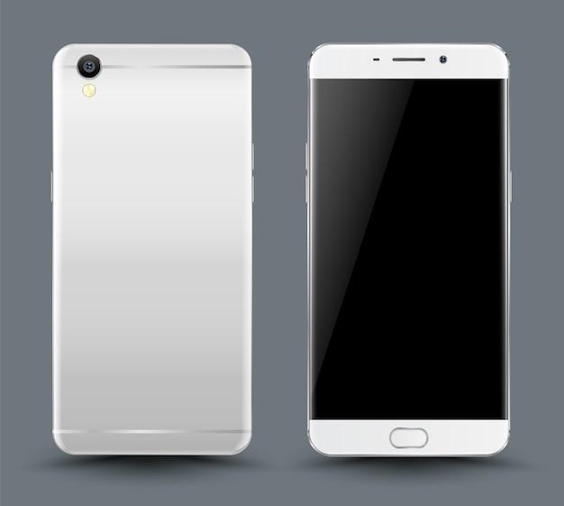 Voor en achter smartphone-mockup.