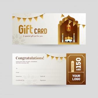 Voor- en achteraanzicht van de cadeaubon of voucher-indeling met moskee f