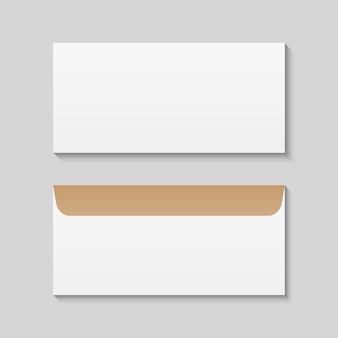 Voor- en achteraanzicht van dl enveloppen mockup