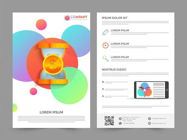 Voor- en achteraanzicht van professionele brochure, sjabloon ontwerp met kleurrijke cirkels voor business concept.