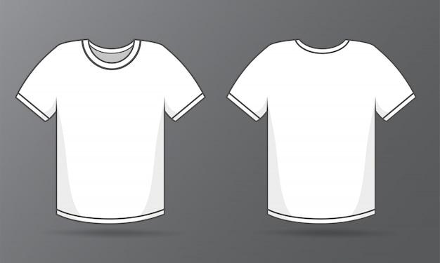 Voor- en achterkant sjablonen eenvoudig wit t-shirt