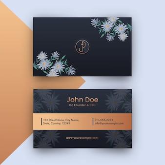 Voor- en achterkant uitzicht op visitekaartje ontwerp met madeliefjebloemen.
