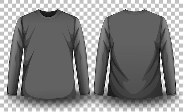 Voor- en achterkant van grijs t-shirt met lange mouwen op transparante achtergrond