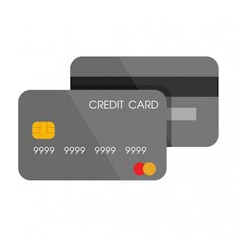 Voor- en achterkant van grijze creditcard in plat ontwerp.