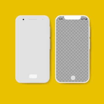Voor- en achterkant van smartphone, geïsoleerd.