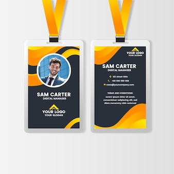 Voor- en achterkant verticale identiteitskaart met foto
