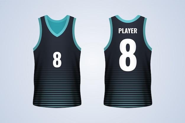 Voor- en achterkant zwart met blauwe strepen basketbal jersey sjabloon