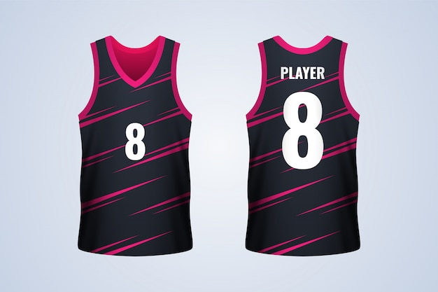 Voor- en achterkant zwart met rode strepen basketbal jersey sjabloon