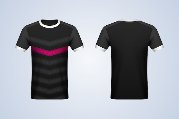 Voor- en achterkant zwart met strepen jersey mockup