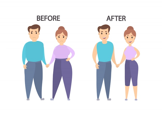 Voor en na. dikke versus slanke koppels.