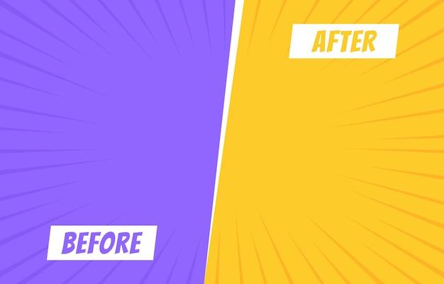 Voor en na sjabloon. twee kleuren retro