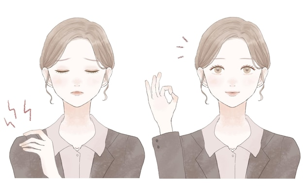 Voor en na van een vrouw in pak die last heeft van stijve schouders. op een witte achtergrond.
