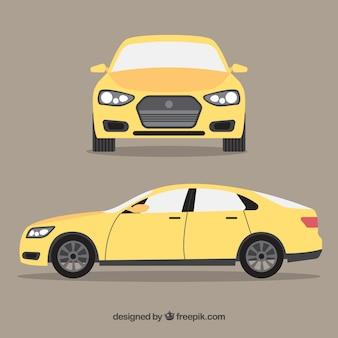 Voor- en zijaanzicht van een vlakke auto