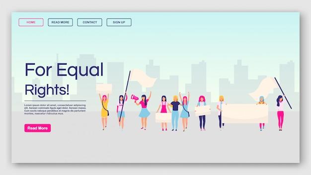 Voor gelijke rechten bestemmingspagina vector sjabloon. feministisch protest website interface idee met platte illustraties. feminisme, girl power movement homepage-indeling.