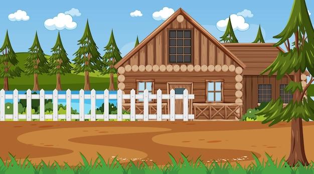 Voor houten huis in natuurtafereel